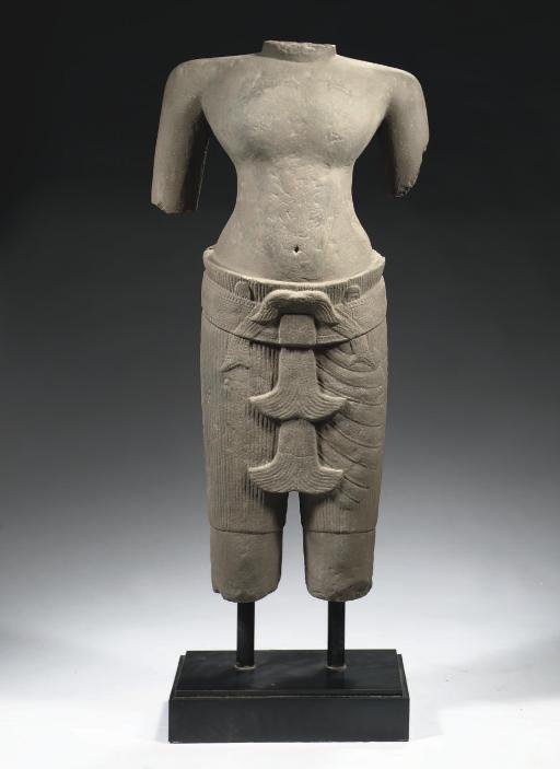 A Khmer, Angkor Vat style, sandstone male torso