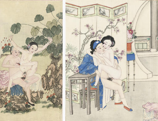 Two Chinese erotic paintings