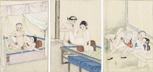Three Chinese erotic paintings