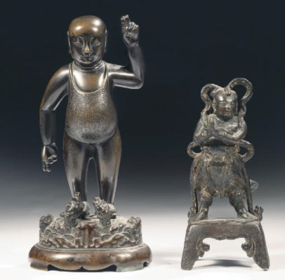 Two Chinese bronze figures