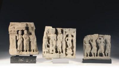 Three Gandhara grey schist fra