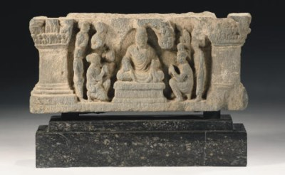 Two Gandhara grey schist panel
