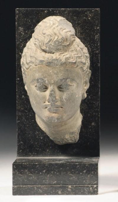 Two Gandhara grey schist heads