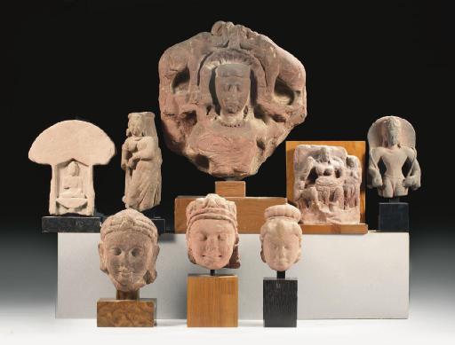 Eight Indian sandstone relief