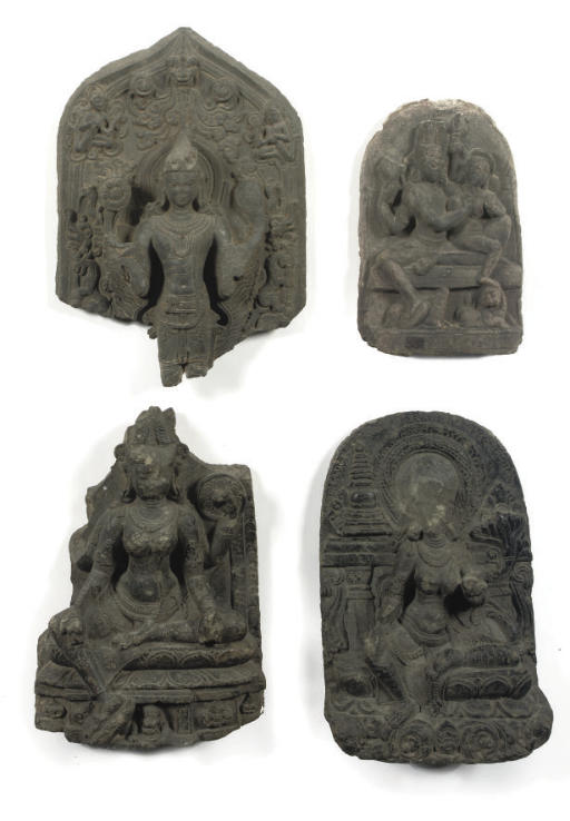 Four Northeast Indian, Pala period, phyllite stone steles