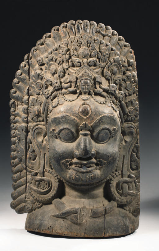 A Nepalese wood mask of Bhaira