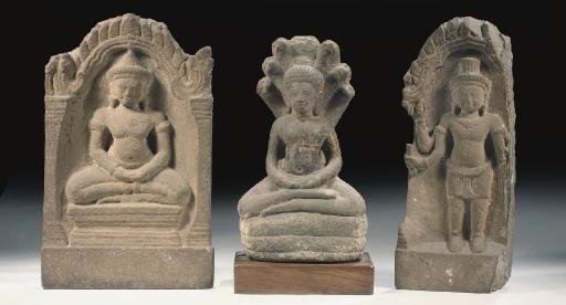 Three Khmer, Bayon style, sand