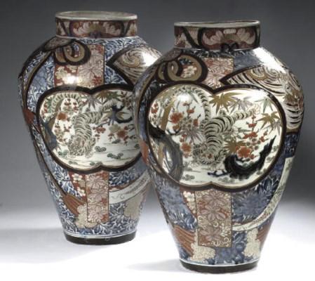 A large pair of Imari baluster