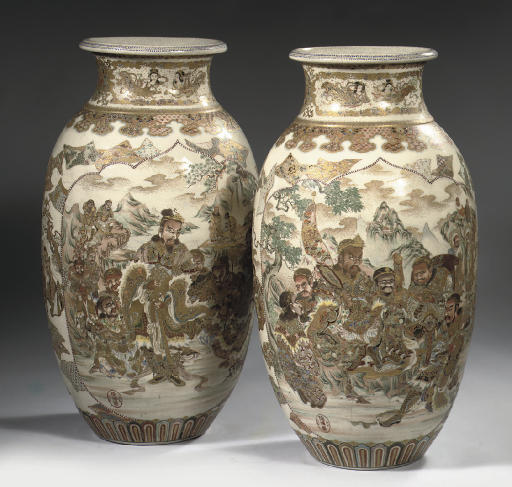 A large pair of satsuma vases
