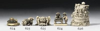 A gilt and an ivory netsuke