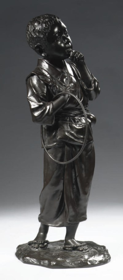 A large bronze figure of a you