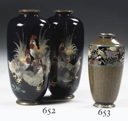 A pair of cloisonne vases