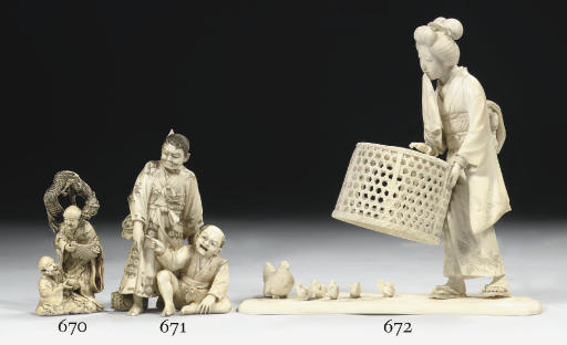 An ivory Tokyo school okimono