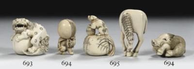 Three ivory and a bone netsuke