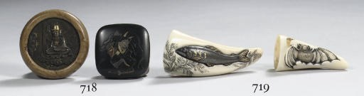 Two boar's tusk netsuke