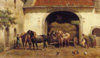 Unloading the hay-wagon