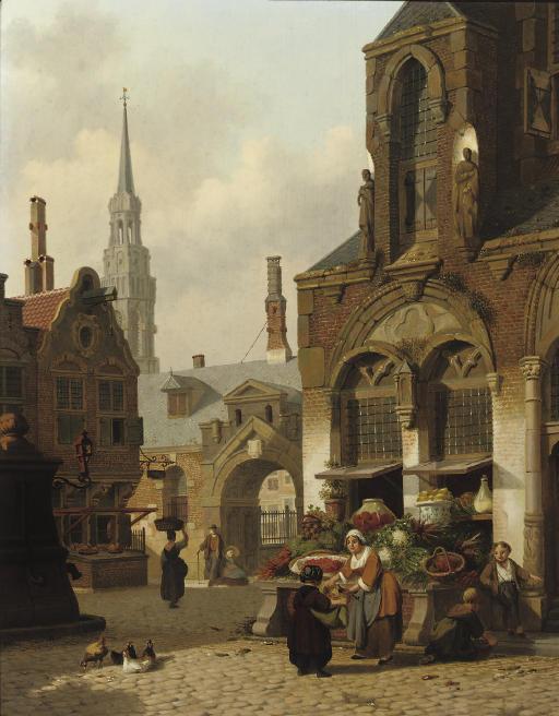 A market stall in a sunlit street