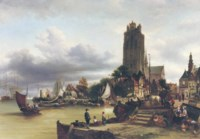 A view of Dordrecht harbour with the Grote Kerk in the background