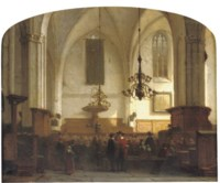 In de Buurkerk te Utrecht: a service in a sunlit church