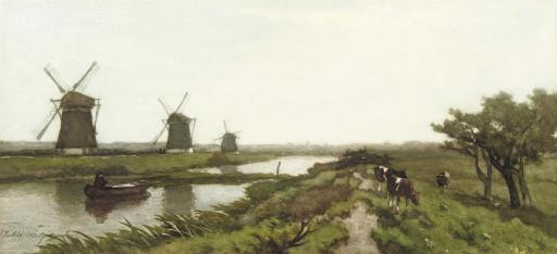 Windmills in a polder landscape