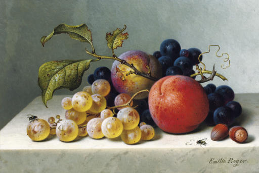 Peaches and grapes on a marble ledge