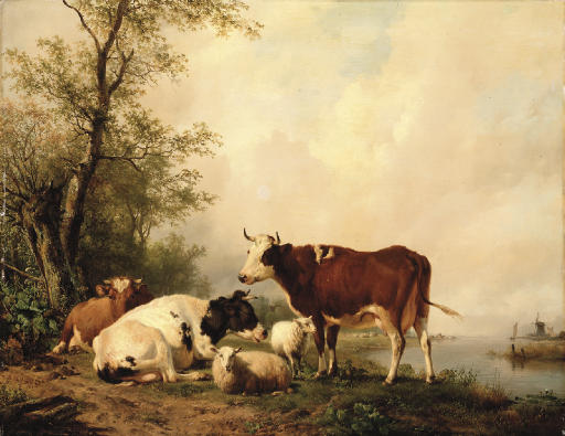 Cattle in a river landscape