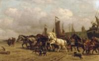 Horsepower: dragging a 'Bomschuit' to sea, Scheveningen