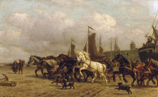 Horsepower: dragging a 'Bomschuit' to sea, Scheveningen