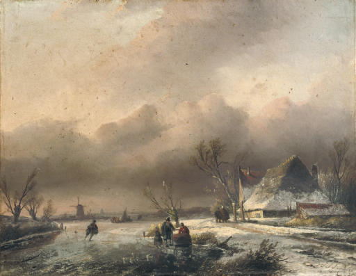 A Dutch winter landscape with villagers on the ice
