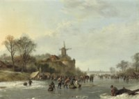 An extensive winter landscape with numerous figures by a 'koek en zopie', an iceskating race in the distance