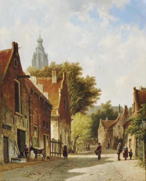 Townspeople in a sunlit street