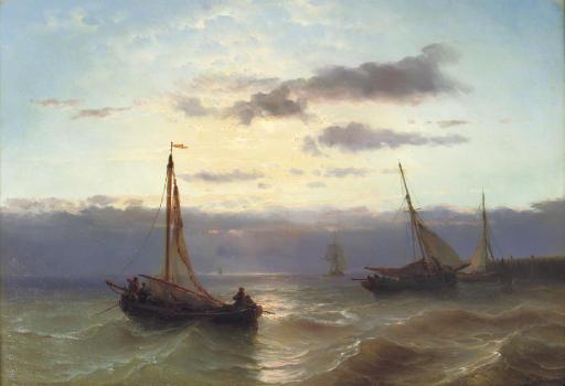 A colourful sunset along a coast