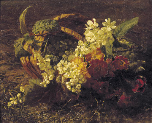 Cherryblossem and primroses in a basket
