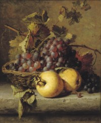 Apples and grapes on a ledge
