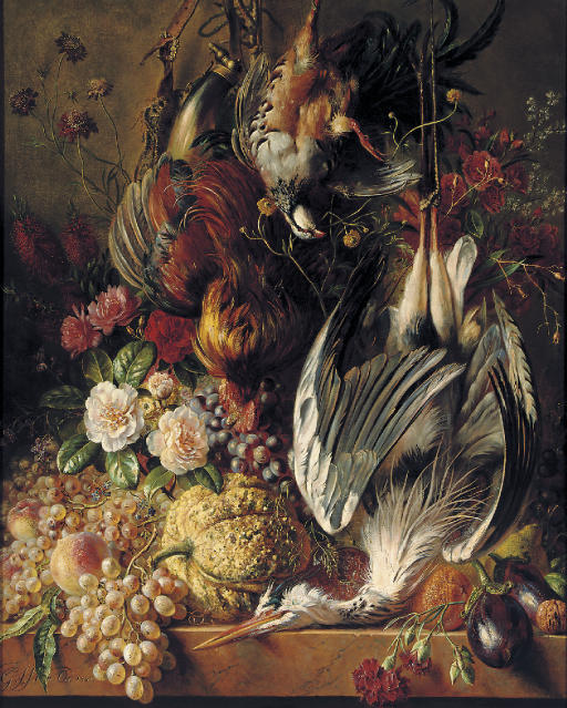 Flowers, fruits and poultry on a ledge