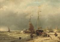 Unloading the catch on the beach of Scheveningen