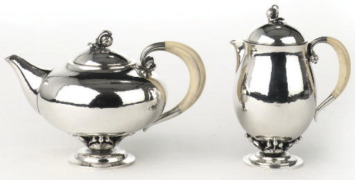 A Danish silver teapot and sma