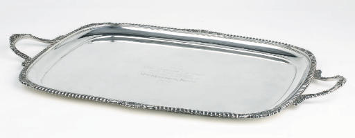 An George V silver two-handled tray