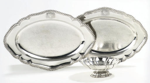 Two George III Silver meat-dishes and a German silver sweetmeat dish