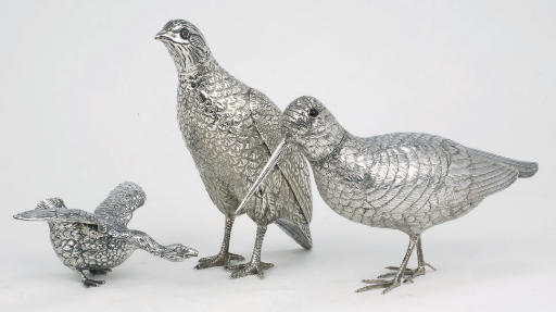 Three various silver birds