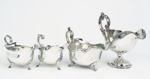 Two Dutch silver sauceboats, a