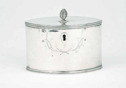 A Dutch silver tea-caddy