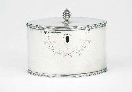 A Dutch silver tea-caddy