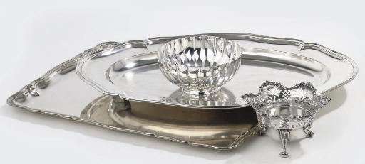 A German silver tray and dish,