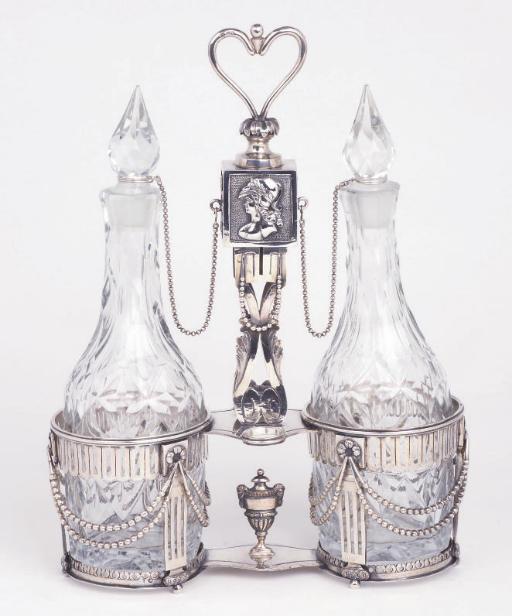 A French silver cruet-frame