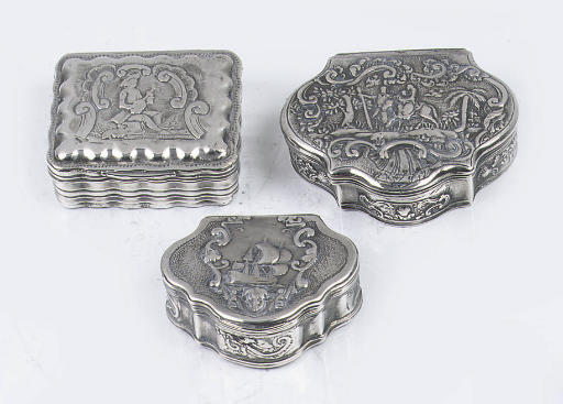 Three various dutch snuff boxe