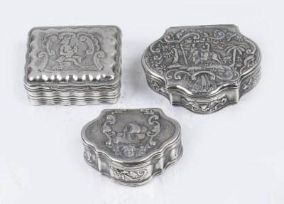 Three various dutch snuff boxe