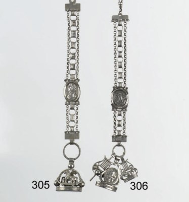 A dutch silver watch chain