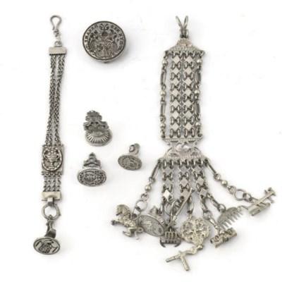 A dutch silver watch-chain, a