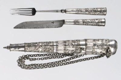 A dutch silver case with a kni